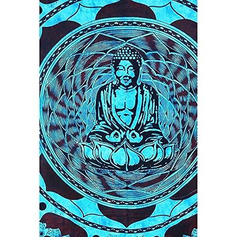 JTH Sky Blaue Farbe Lord Buddha Räucherstäbchenhalter Wandteppiche Hippie Mandala Traditionelle indische Wandbehang Tapisserie.