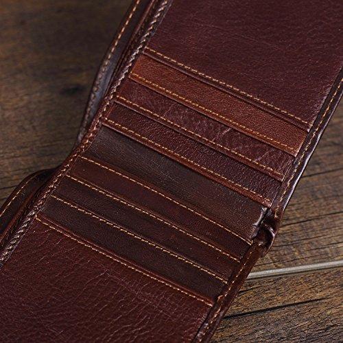DKER Herren Geldbörse Wallets Echtes Leder Portemonnaie Klassische Art Kreditkarteninhaber Geldbeutel Kreditkartenfächer M501b