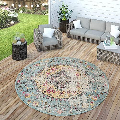 Paco Home In- & Outdoor Teppich Modern Orient Print Terrassen Teppich Wetterfest Türkis, Grösse:Ø 160 cm Rund