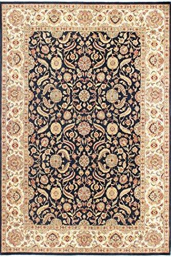 Arts of India indisch Handgefertigt Blumen Design Schwarz Wolle Handgeknüpft Jaipur 10'X14' Bodenfläche Teppich -