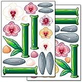 Wandkings 'Bunte Orchideen' Wandsticker Set, 36 Aufkleber, 2 DIN A4 Bögen, Gesamtfläche 60 x 20 cm