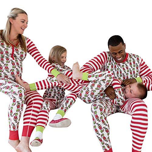SuperSU Weihnachten Pyjama Set Frauen Kind Dad Erwachsene PJs Fun Nachtwäsche Langarm Xmas Streifen Schlafanzug Sleepwear Sweater Set Familie Kleidung Damen Herren Kinder Mädchen Jungen