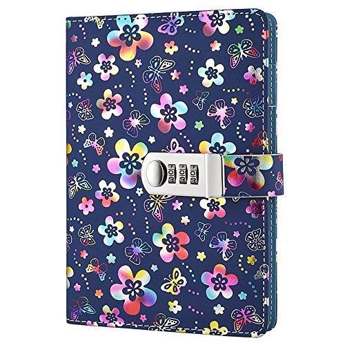 nainaiwu Notizbuch Record Tagebuch mit Schloss Beautiful Flower PU Leder Cover Schreiben Notizblock A5Größe Buch Reise Tagebuch für Mädchen und Jungen. Mehrfarbiges Blumenmuster