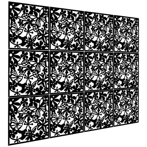 Kernorv Paravent DIY Raumteiler Sichtschutz Trennwand Wanddekorationen Hängende Wandtafel für Dekorations, Wohnzimmer, Arbeitszimmer und Sitzecke, Hotel, Bar Schwarz 12tlg
