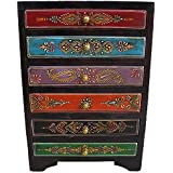 Theshopy Handmade Wooden Drawer Chest, 6 Drawers (27.5 Cm X 20 Cm X 12.5 Cm, Hand Painted)