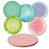 Addies Glas-Untersetzer 6-tlg.Set Mandala mit 6 verschiedenen schönen spirituellen Motiven,in hochwertiger Klarsicht-Geschenkbox und Korkrückseite, rund, Motive-Guten Abend