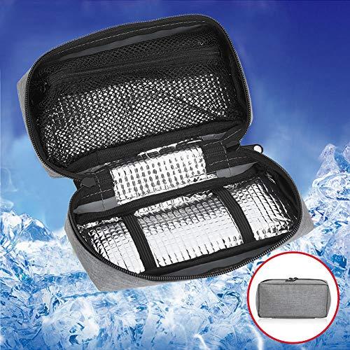 616QaRKs13L - Bolso del refrigerador de la insulina, caja de enfriamiento de la bolsa del organizador médico portátil del protector del aislamiento(Negro)