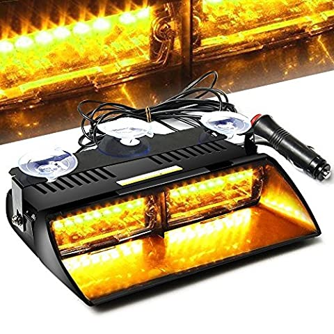 AMBOTHER 16 LED High Intensity Law Strobe Emergency light Beacon Hazard Police Warning Flash Flashlight Enforcement Lights 18 Modes for Vehicle Car Truck SUV Interior Roof / Dash / Windshield with Suction Cups (Amber)