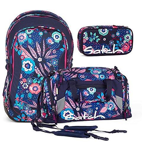 Satch Sleek Cheeky Blue 3er Set Schulrucksack + Schlamperbox + Sporttasche