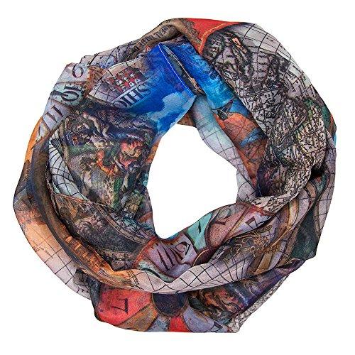 MANUMAR Schal Weltkarte Globus Atlas Schiffe Damenschal Tuch Scarf blau orange! Weicher Schal als edles Accessoire! Weihnachtsgeschenk Freundin Damen