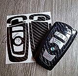 schwarz Kohlenstofffaser glänzend BMW Schlüssel Aufkleber Überzug 1 F21 F20 2er F22 F23 F45 F46 3er F30 F31 F34 F35 F80 M3 Serie 4 F32 F33 F36 F82 F83 Serie 5 F10 F11 F 18 F07 Serie 6 F12