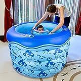 Flashing- Doppel-Entwässerungs-Design Kinder Spiel-Pool Schwimmen Eimer Neugeborene Wanne, Umweltschutz PVC-Material Baby Aufblasbare Schwimmbad ( Farbe : Blau , größe : 105*75cm )