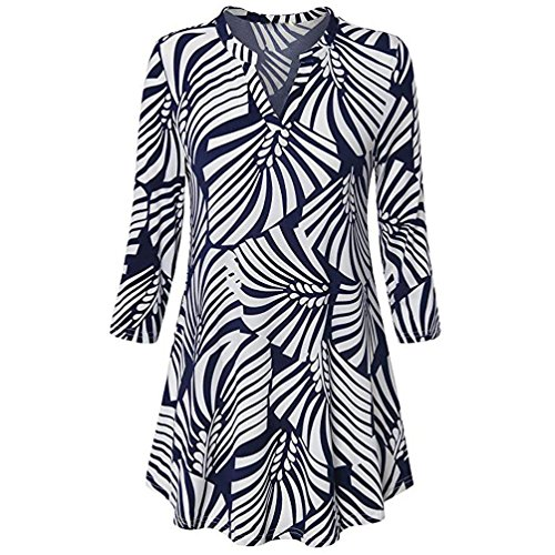 Wawer Women s Summer Tops  Ladies Three Quarter Sleeved Loose T-Shirt  Holiday Boho Floral Printed V-Neck 3 4 Sleeve Printed Tops Blouse for Club Party Daily Beach  M  Blue