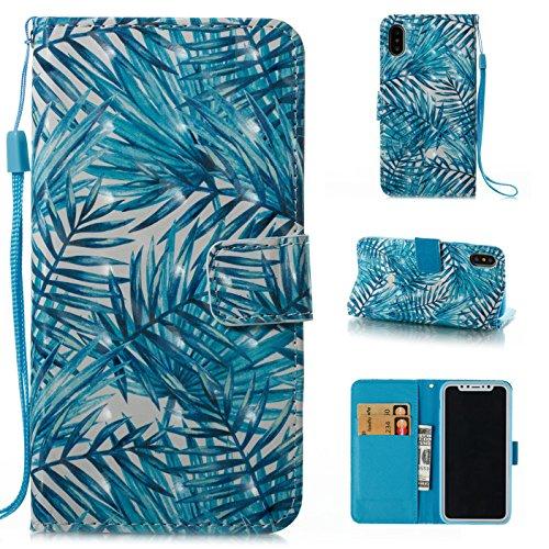 Ooboom® Hülle für iPhone X Handy Tasche 3D Flip PU Leder Schutzhülle Stand Brieftasche Wallet Case Cover mit Trageschlaufe - Vogel Blätter