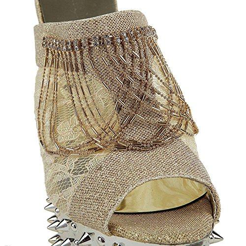 SYYAN Damen In Europa Und Amerika Glett Perlen Niet Hand Gemacht Plattform Pumpe Sandale Gold