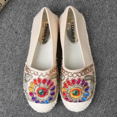 &qq Chaussures de pêcheur de paille, chaussures de femmes confortables, brodé vent national, casual chaussures paresseuses épaisse 39