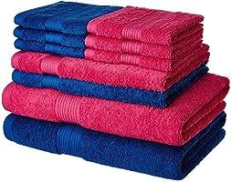 Solimo 100% Cotton 10 Piece Towel Set, 500 GSM (Iris Blue and Paradise Pink)