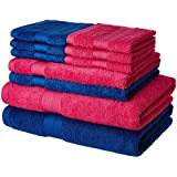Solimo 100% Cotton 10 Piece Towel Set, 500 GSM (Iris Blue and Paradise Pink)