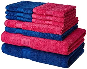 Amazon Brand - Solimo 100% Cotton 10 Piece Towel Set, 500 GSM (Iris Blue and Paradise Pink)