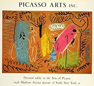 1971 Motif Picasso Arts Inc. New York City Ad Poster couleur imprimé Original