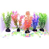 NATLIS Beautiful Multicolour Artificial Aquarium Plastic Plants for Home and Fishes Tank Decoration (Set of 5)