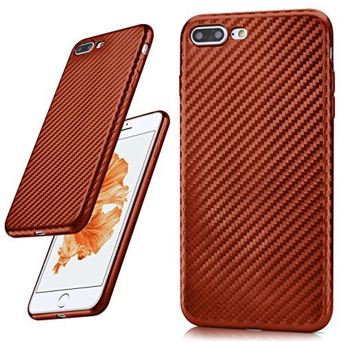 iPhone 7/8 Plus Hülle Schwarz Karbon Optik [OneFlow Pulse Back-Cover] Schutzhülle Ultra-Slim Silikon Handy-Hülle für iPhone 7/8 + Plus Case Carbon Silikonhülle Tasche CARBON-FIRE