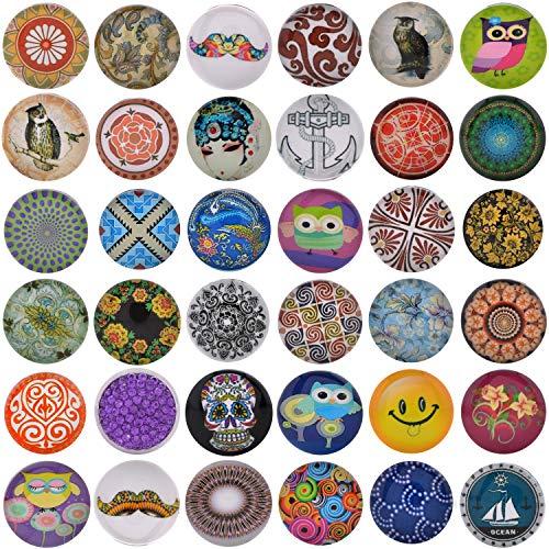 Morella 36 Click-Buttons Set Knöpfe Chunks Steine für Armbänder Ringe und Halsketten Foto Print Mix 18 mm kompatibel
