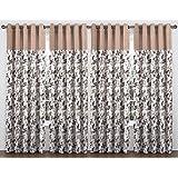 NESROR Brown Floral Design Polyester Eyelet Door Curtain (4 Piece, 7 Feet)