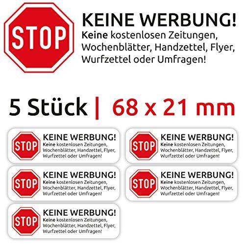 12x Aufkleber Schild Sticker Keine Werbung Kostenlose Zeitungen