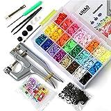 LIHAO 375PCS Bottoni a Pressione in Resina T5(12mm) 24 Colori in Plastica + Kit di Pinze in Metallo + 12PCS Cucito Clip