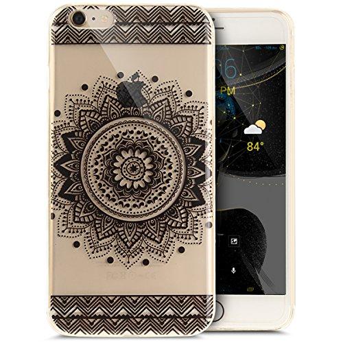 Coque iPhone 6S Plus,Étui iPhone 6 Plus,iPhone 6S Plus/iPhone 6 Plus Case,ikasus® Coque iPhone 6S Plus/iPhone 6 Plus Silicone Étui Housse [Conception IMD et cadre en silicone TPU] Téléphone Couverture Mandala noir