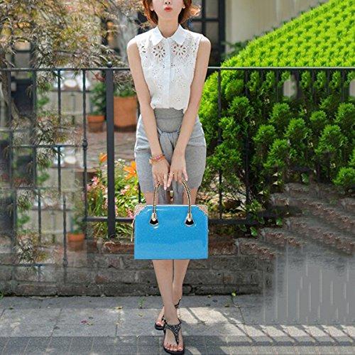 WU ZHI Lady Messenger Bag Lackleder Handtasche Schultertasche Handtasche Blue