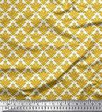 Soimoi Gold Baumwolljersey Stoff verzierte filigran Damast