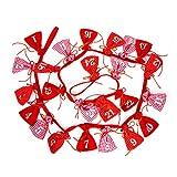 ABVÈRKAUF 24 Stück rot weiß karierte gepunktete Adventssäckchen zum Aufhängen 8 x 12 cm Adventskalender-Set zum Befüllen Basteln für Kinder + Erwachsene - kleine Mini Stoff-beutel aus Baumwolle