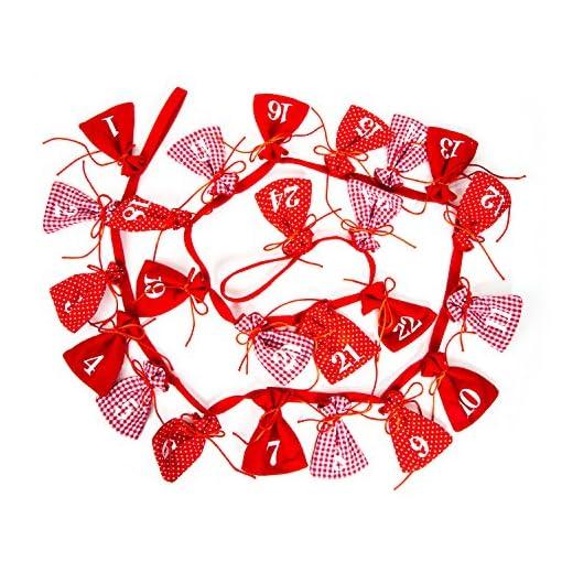 Calendario Avvento Adulti.24 Pezzi Rosso Bianco A Scacchi Gepunktete Klassische