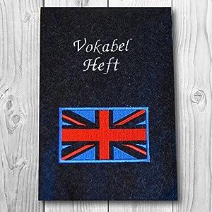 A5 Hefthülle in versch. Farben - Text wählbar - Motiv: Flagge