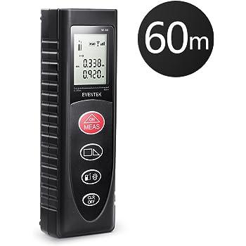 Télémètre Laser Numérique Portable de Precision, Eventek Metre Laser Mesure de Distance Professionnel 60m Max Avec LCD Rétro-éclairage
