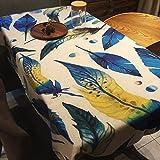 BUUYI Manteles Mesas de comedor Decoración Feather 140x140cm Boda hotel restaurante Moderno sencillo