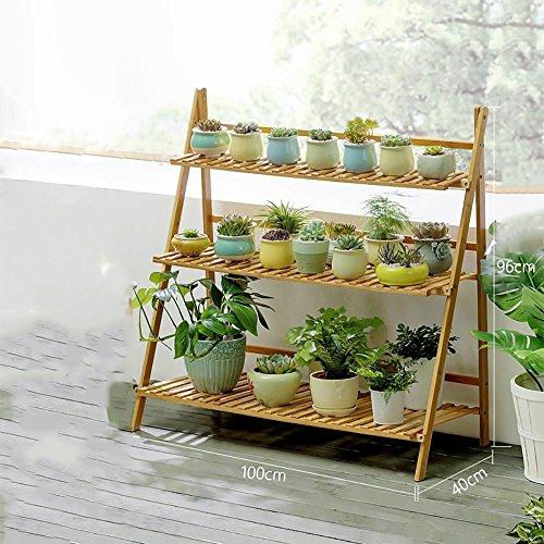 LLLXUHA Plantes en pot Multi-couche Stand de plante, Simple Pliant Multifonction Support de fleurs, intérieur Plantes charnues Présentoir, Espace de rangement livres étagère à livres , Primary Color , 100*40*96cm