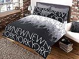 Great Knoten Gold Serie Bettbezug sets-50% Polyester 50% Baumwolle NEW YORK, New York Charcoal, Single 137x200 cm