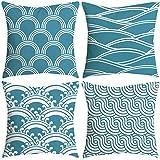Aiserkly 45x45 cm Satz von 4 dekorativen blauen und weißen Porzellan Throw Pillow Cover 18'x 18'Home Decor Dekokissen Kissenbezug Kissenhülle