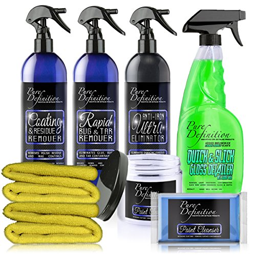 Pure Definition Car Decontamination Kit Panel Degreaser Bug Tar Clay Bar Detail Spray Wheel Cleaner And Iron Fallout Paintwork Starter Pack