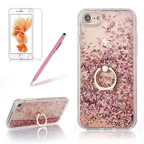 Girlyard Hülle für iPhone 6S Plus Flüssig, 3D Kreative Transparent Hardcase Shiny Bling Glitzer Schutzhülle für iPhone 6 Plus Schwimmend Treibsand Stern Diamant Design Backcover mit 360 Grad Grip Ring Ständer für iPhone 6 Plus/ iPhone 6S Plus 5.5 Zoll Rose Gold (Iphone 6 Plus Stift)