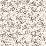 MyTinyWorld 5 Stück Puppenhaus Rosa und violett Verschiedene Blumen auf cremefarbenen Tapete Blätter