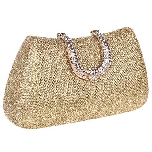 Bonjanvye Glitter Initials Hand Purses for Women Hard Case Evening Clutch Bag Purpe gold