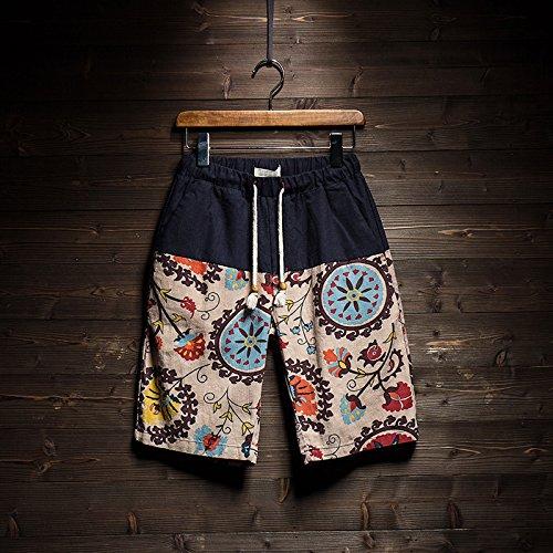 HOOM-Nouveau pantalon de plage d'été occasionnels Shorts hommes Camo coton taille lâche cinq pantalons shorts Color a