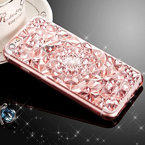 3D-Bling Hard Case TPU Silikon Schutz Hülle für IPhone 6 / 6S Plus - Hell-Pink, L Hell-Pink