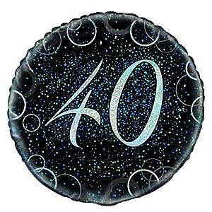 Unique Party Globo Foil de 40 cumpleaños, Color Azul metálico Brillante, 45 cm (55809)