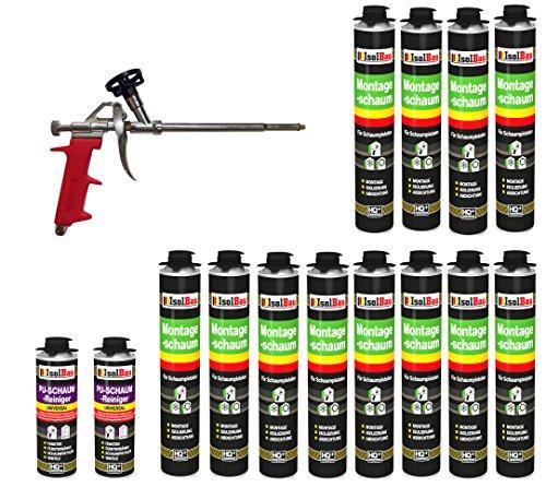 SET Pistolenschaum 12 Dosen 750 ml Montageschaum 1K Bauschaum PU-Schaum + 2 Reiniger + 1 Schaumpistole