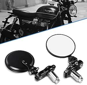 Motorrad Spiegel 7 8 22mm Lenkerendenspiegel Rückspiegel Für Sport Bike Scooter Choppers Cruiser Rund Schwarz Auto